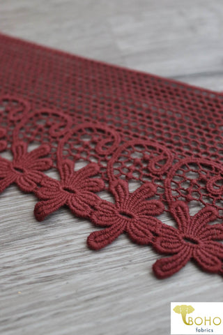 "Floral Scrolls in Rust, 4 3/8"" Wide Woven Trim. WT-017"