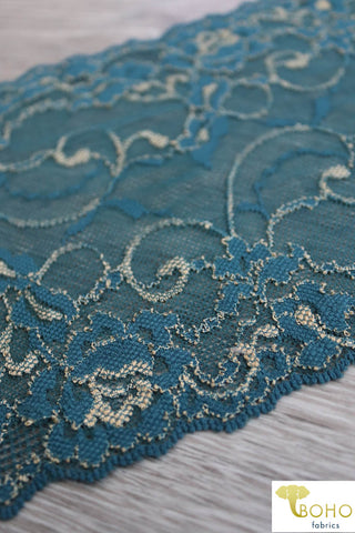 "Magical Swirl Roses 2-Tone Teal & GOLD, 6 1/2"" Stretch Galloon Lace Trim. SL-016-GRN."