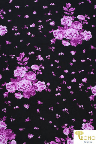 Purple Falling Roses on Black. Rayon Spandex Knit. R-134