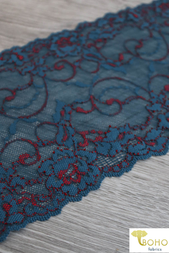 "Magical Swirl Roses 2-Tone Blue Teal & RED, 6 1/2"" Stretch Galloon Lace Trim. SL-016-RED."