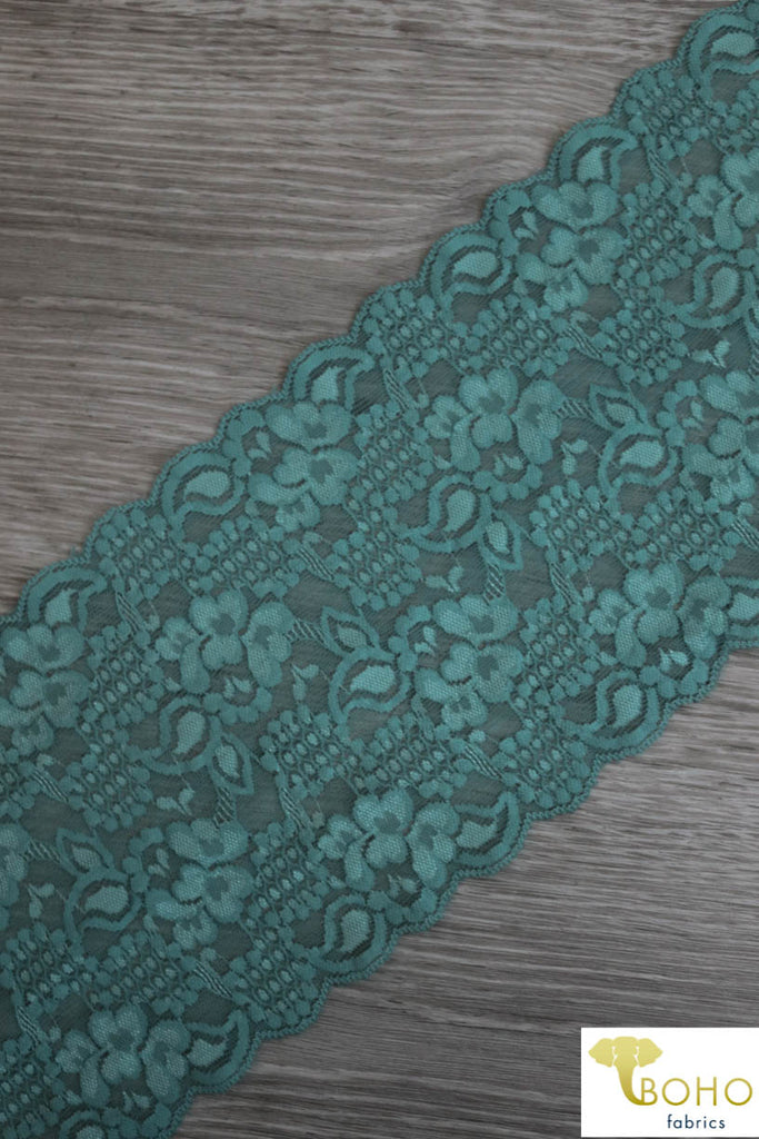 "Dark Aqua Garden, 5 3/4"" Stretch Galloon Lace Trim. SL-003-GRN."