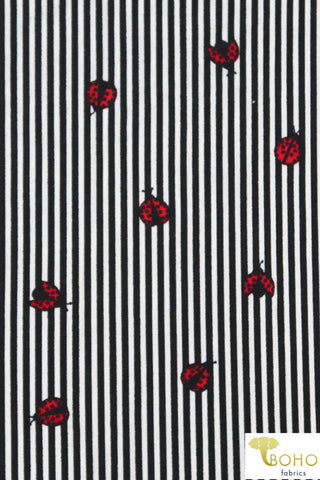 Ladybug Stripes in Black. Double Brushed Poly Knit Fabric. BP-134-BLK