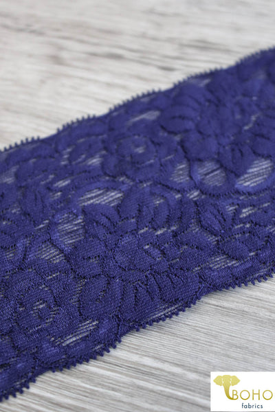 "Sky Cloud Flowers in Royal Navy, 3 1/4"" Stretch Galloon Lace Trim. SL-015."