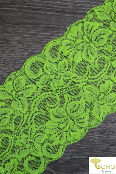 "Endless Neon Flowers in Yellow, 5 1/4"" Stretch Galloon Lace Trim. SL-014."