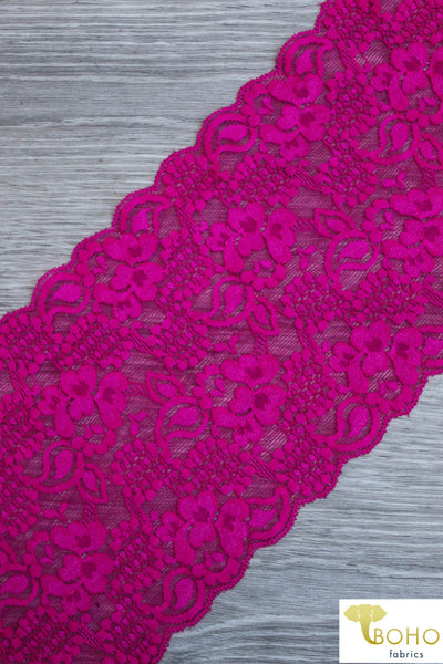 "Hot Pink Garden, 5 3/4"" Stretch Galloon Lace Trim. SL-003-PNK."