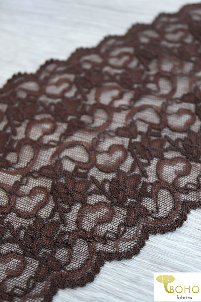"Sweet Heart Chocolate in Brown, 5 5/8"" Stretch Galloon Lace Trim. SL-013."