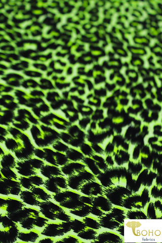 DBP: Neon Lime Green Cheetah. Double Brushed Poly Knit Fabric. BP-111-GRN