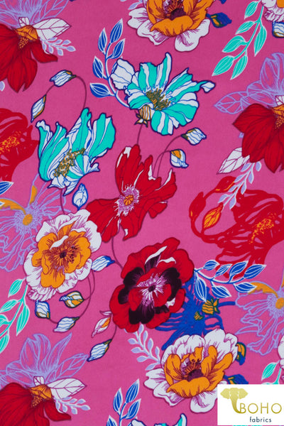DBP: Cheerful Poppies on Pink. Double Brushed Poly Knit Fabric. BP-113-PNK