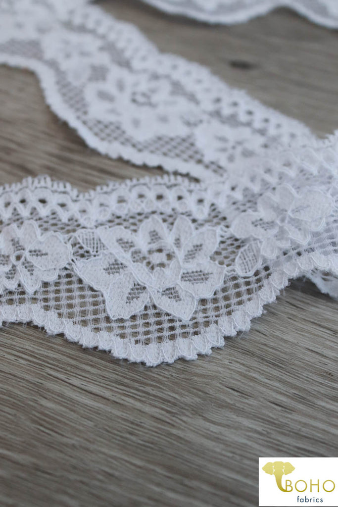 "Grid Florals in White 2 1/4"" Scallopped Stretch Lace. SL-004."