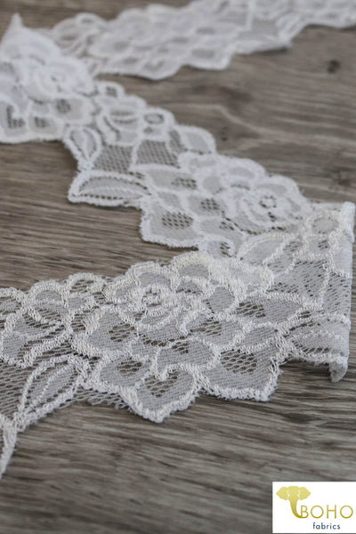 "Edgy Roses in White, 2 1/4"" Stretch Lace. SL-009."