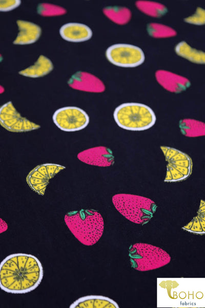 DBP: Strawberry Lemonade on Black. Double Brushed Poly Knit Fabric. BP-109-BLK