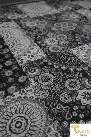 Quilted Artisan Suns and Flowers in Black and White. Georgette Chiffon Poly Woven. WV-163-BLK