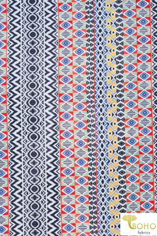 Summertime Geometric Stripes in Navy, Red & Yellow. Lightweight Cotton Woven. WV-161-BLU