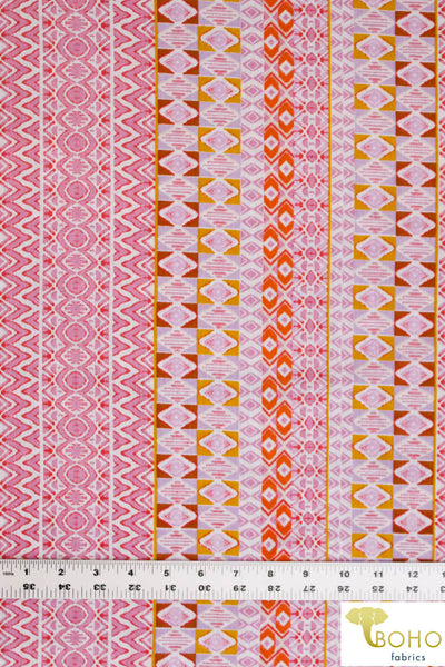 Summertime Geometric Stripes in Pink, Yellow & Orange. Lightweight Cotton Woven. WV-161-PNK