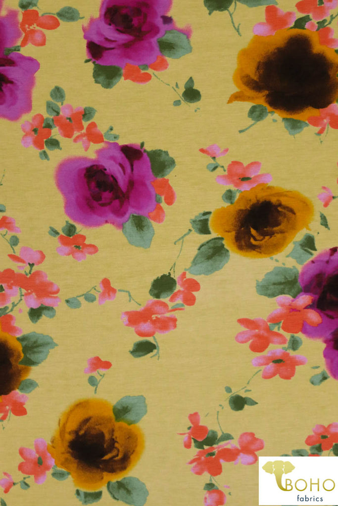 Bumblebee Roses on Light Yellow. Rayon Spandex Knit. R-135