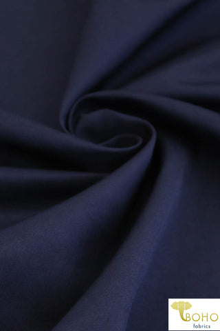 Satin Navy (Shiny). Twill Woven Fabric. WV-160-NVY