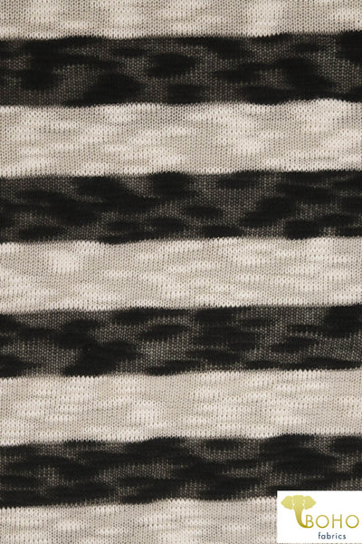 "1.5"" Horizontal Black and Cream Stripes. Looseweave Slubbed Sweater Knit. SWTR-204"