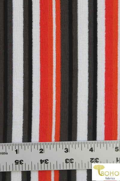 "Olive ""Ventura Beach Stripes"". Olive Gray, Orange, White, & Black. French Terry Knit. FT-140-NEUT"