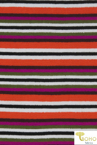 "Magenta ""Ventura Beach Stripes"". Orange, Black, Brown, Magenta, Olive, Ivory. French Terry Knit. FT-140-WARM"