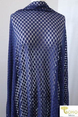Polka Dot in Royal Blue Navy. Stretch Lace. SL-107-BLU.