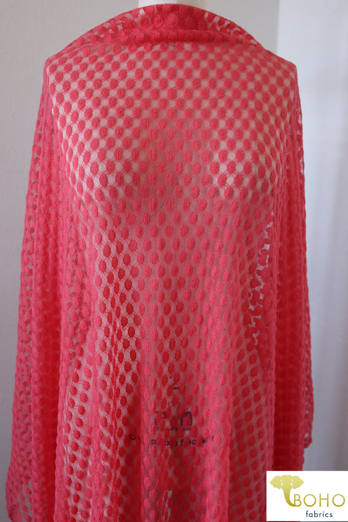 Polka Dot in Coral. Stretch Lace. SL-107-CRL