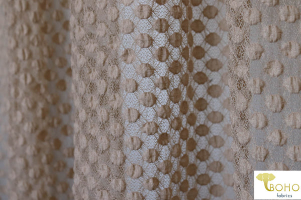 Petite Polka Dot in Beige. Stretch Lace. SL-111-BRWN