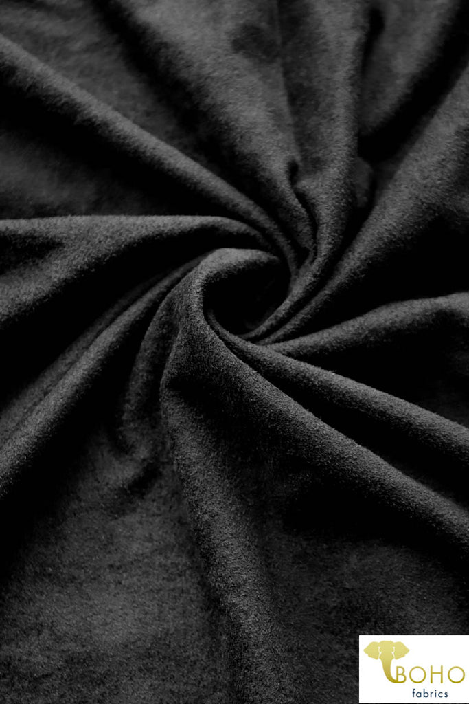 Black Suede Knit Fabric. Designer Collection