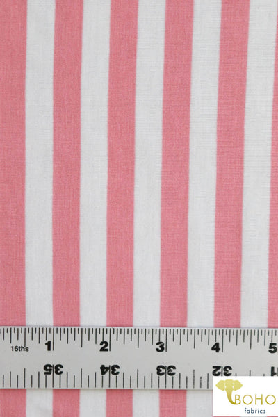 "1/2"" Horizontal Stripes Pink Stripes on Ivory. Rayon Spandex Knit. R-144"
