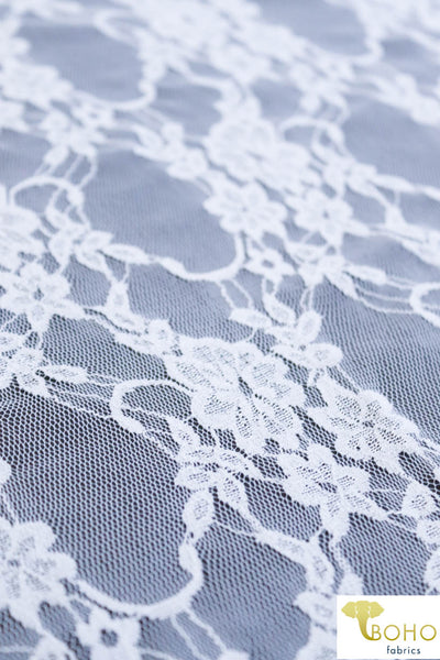 Petite Floral Stretch Lace in White. SL-108-WHT.