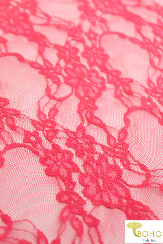 Petite Floral Stretch Lace in Coral. SL-108-CRL.