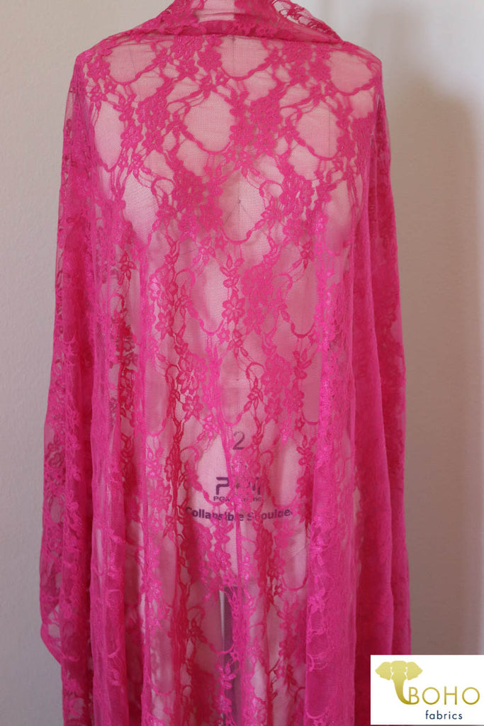 Petite Floral Stretch Lace in Hot Pink. SL-108-HP.