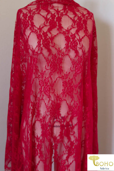 Petite Floral Stretch Lace in Red. SL-108-RED.