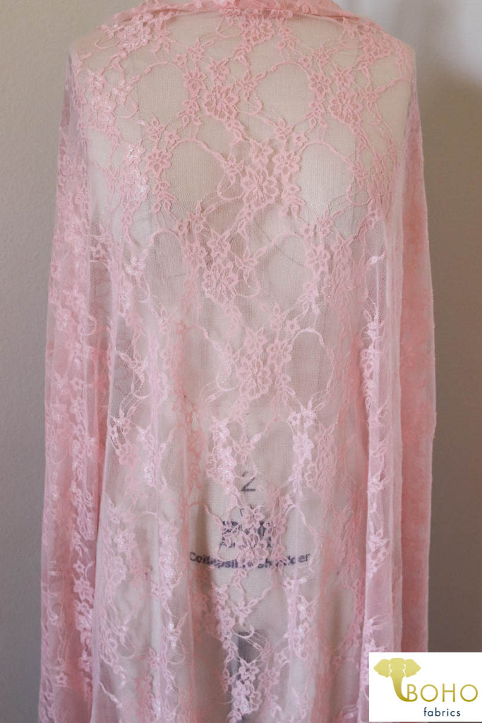 Petite Floral Stretch Lace in Light Pink. SL-108-LP.