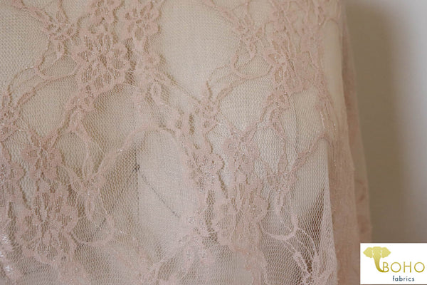 Petite Floral Stretch Lace in Nude. SL-108-NDE.
