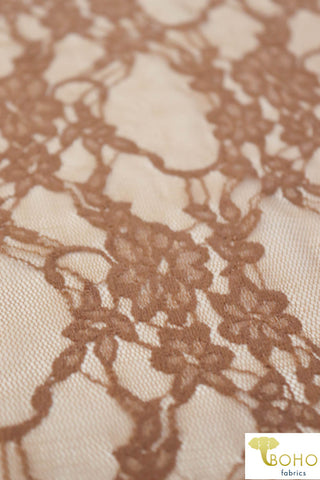 Petite Floral Stretch Lace in Taupe. SL-108-BRWN.