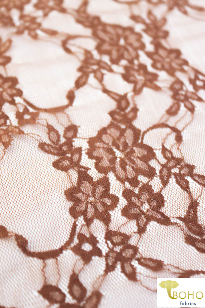 Petite Floral Stretch Lace in Caramel Brown. SL-108-CRML.