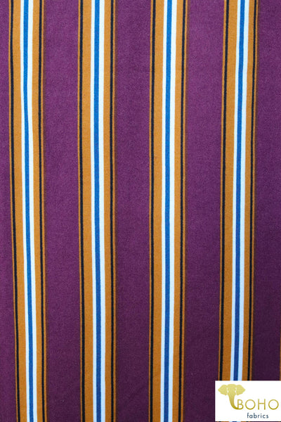 Brick and Mustard Vertical Stripes Double Brushed Poly Knit Fabric DBP-041