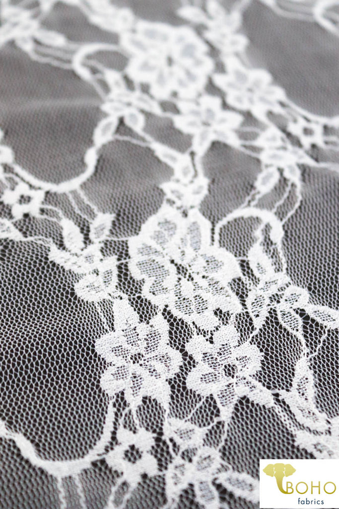 Petite Floral Stretch Lace in Pearl. SL-108-PRL.