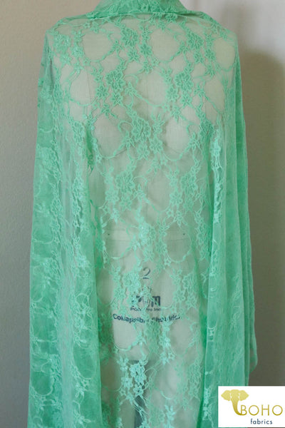 Petite Floral Stretch Lace in Mint. SL-108-MNT.