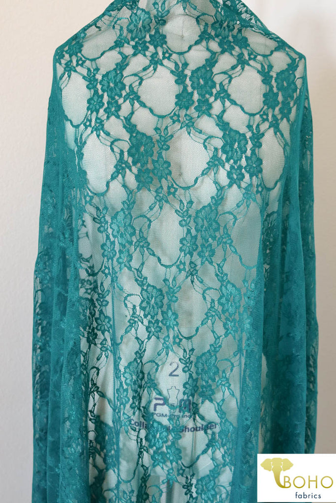 Petite Floral Stretch Lace in Teal. SL-108-TEAL.