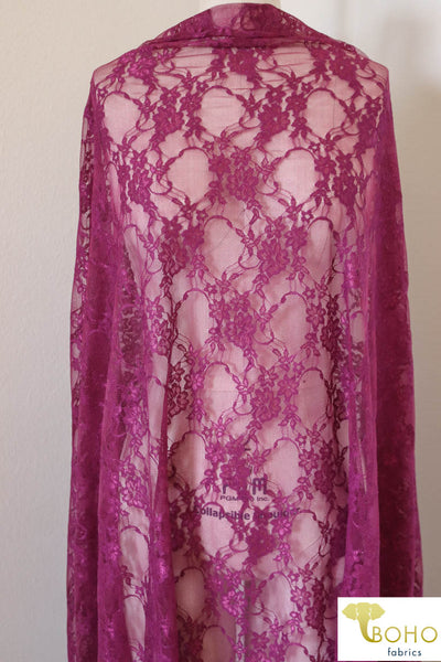 Petite Floral Stretch Lace in Magenta. SL-108-MGNT.