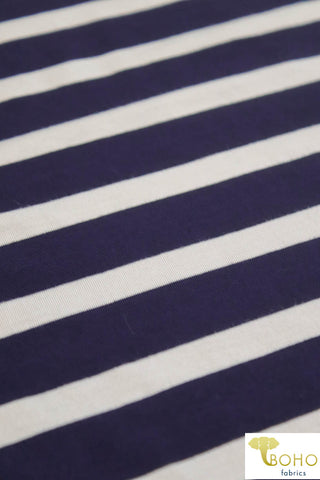 "1/2""White Stripes on Navy. Heavier Weight Rayon Spandex Knit. R-139"
