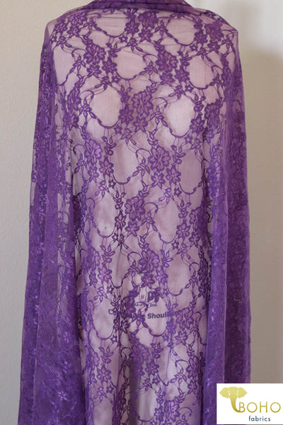 Petite Floral Stretch Lace in Grape Purple. SL-108-PURP.