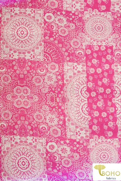 Quilted Artisan Suns and Flowers in Pink and White. Georgette Chiffon Poly Woven. WV-163-PNK