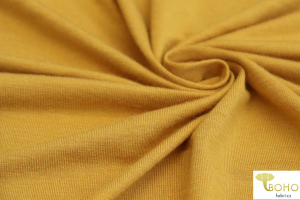 Harvest Stripes. Mustard Teal Vertical Stripes Double Brushed Poly Knit Fabric DBP-040