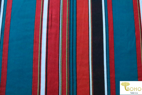 70's Mod Vertical Stripes in Red, Teal and Black Double Brushed Poly Knit Fabric DBP-046
