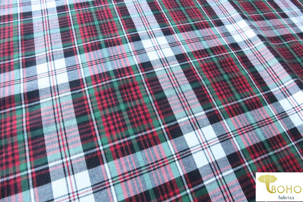 Holly Plaid in Red & Green.  Cotton Woven Fabric