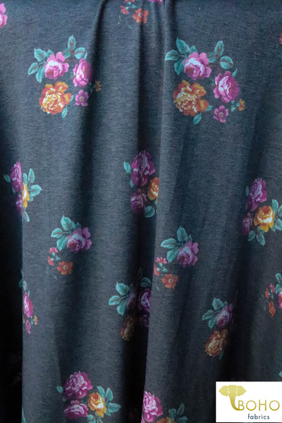 Ava.  Vibrant Florals on Charcoal Gray.  French Terry Knit Fabric