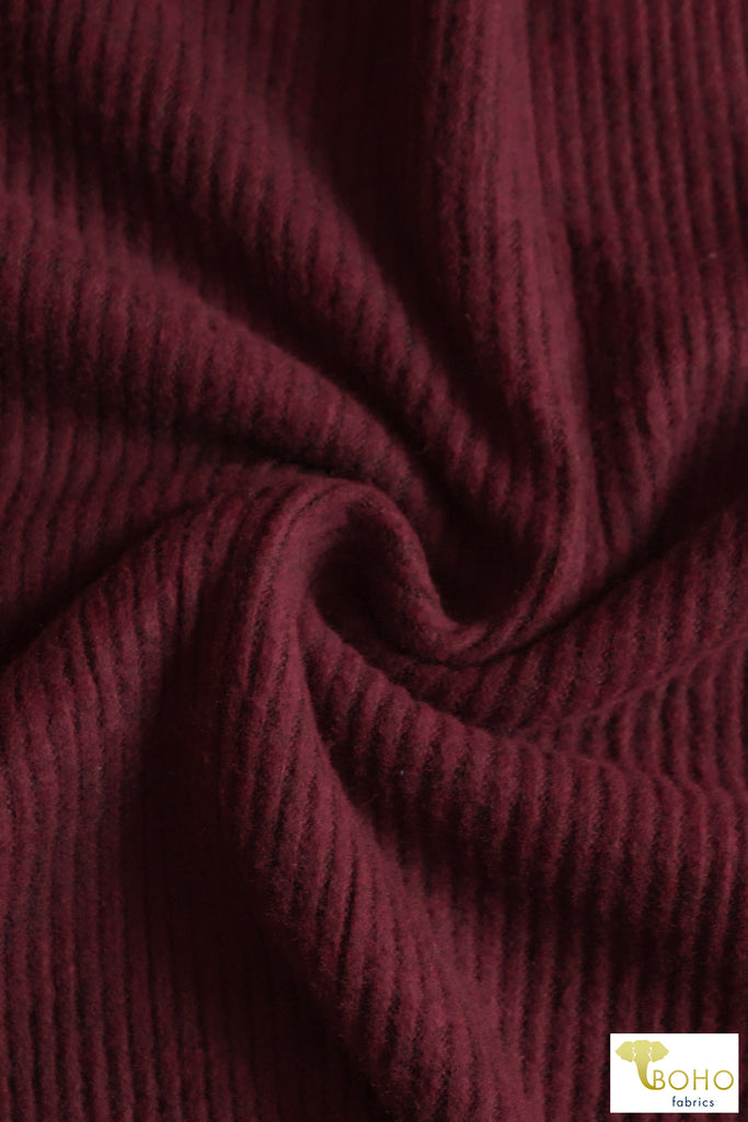 Dark Ruby Red, 2x2 Brushed Ribbed Knit. BRIB-202-RED