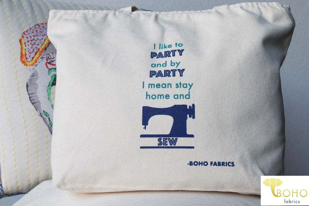 """Party & Sew!"", Zippered Cotton Canvas Tote Bag"
